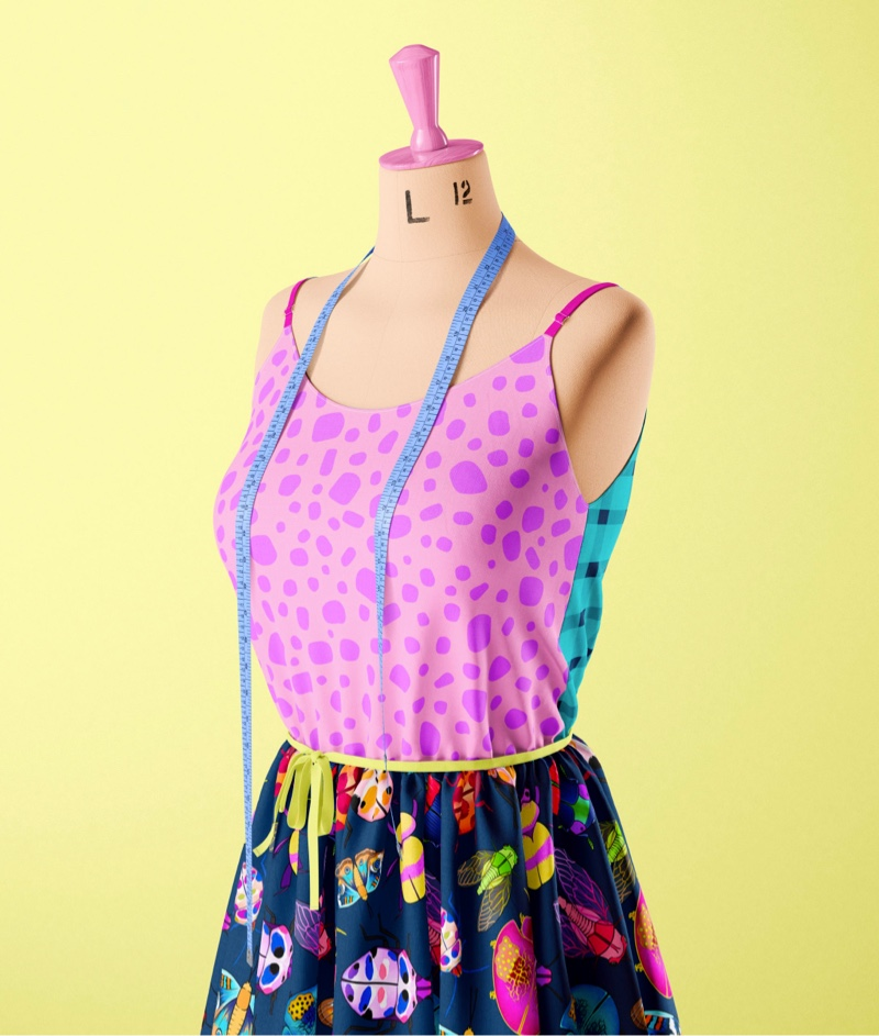 Image of mannequin with dress and top using Kasey Rainbow Material Difference fabric.